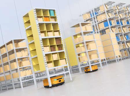 Autonomous Mobile Robots delivering shelves in distribution center. Intelligent logistics center concept. 3D rendering image. Banco de Imagens