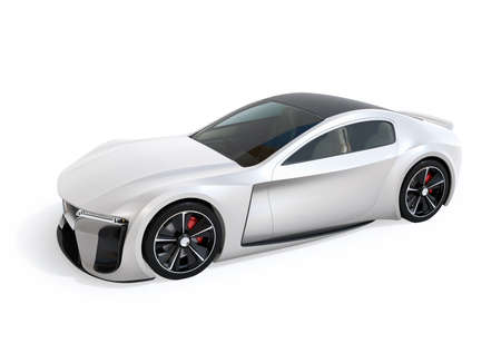Pearl color paint electric powered sports coupe isolated on white background. 3D rendering image. Original design. 写真素材