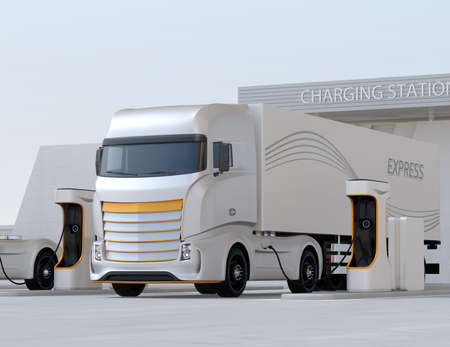 Generic design Heavy Electric Truck charging at Public Charging Station. 3D rendering image.