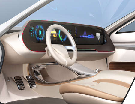 Close-up view of self-driving electric car's dashboard. Wide digital multimedia screen. 3D rendering image.