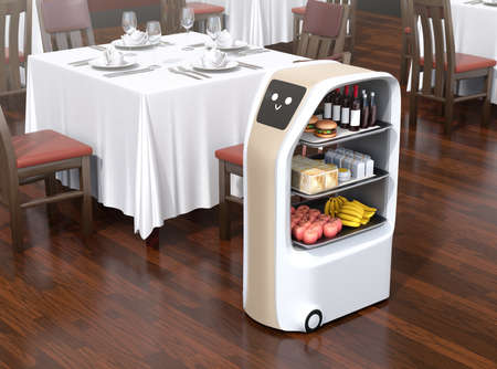 El robot de entrega de alimentos se detuvo cerca de una mesa esperando a que recogieran la comida en un restaurante. Pantalla táctil que muestra el icono de emoción de sonrisa. Imagen de renderizado 3D.