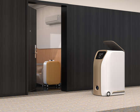 Delivery robot stopped beside room in hotel waiting for pick up. Room door was opened. 3D rendering image.