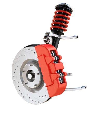 Car suspension and disk brake isolated on white background. 3D rendering image.