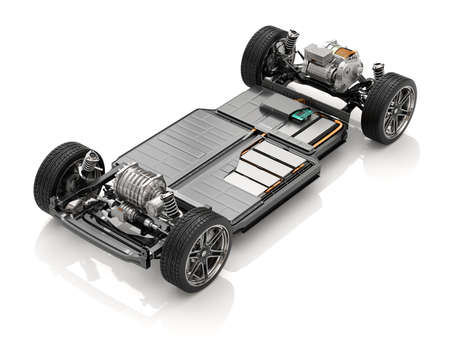 Cutaway view of Electric Vehicle Chassis with battery pack on white background. 3D rendering image. Stock Photo