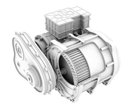 Clay rendering of Electric Vehicle Motor's cutaway view. 3D rendering image.