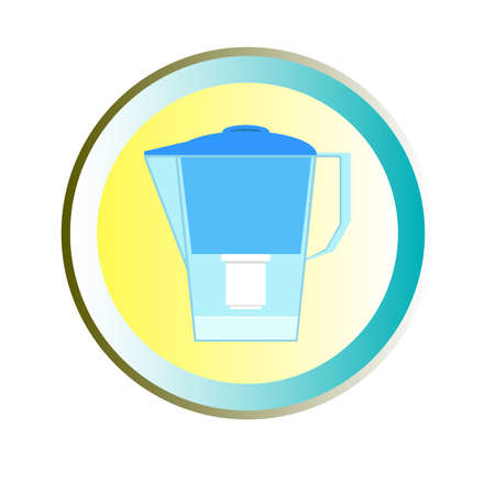 water filter: Simple blue filter with clean water in a circle Illustration