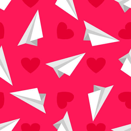 Airplanes made of white paper  and red hearts on the pink background. Vector