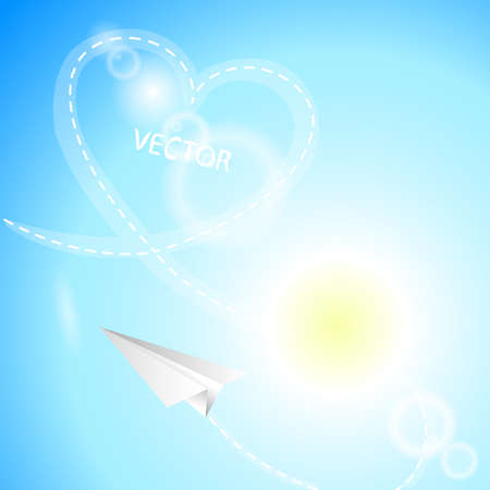 Airplane made of white paper, heart and sun on the sky background Vector