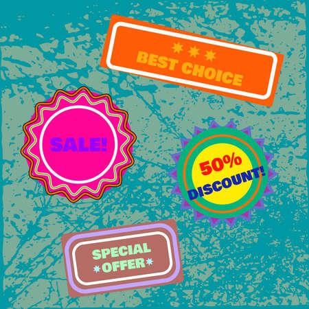 10eps: Set of colored labels. Vector illustration. 10EPS