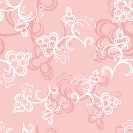 pastiche: White and pink flowers on a pink backround Illustration