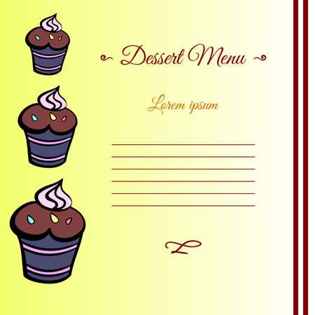 10eps: Template for your dessert menu. Vector illustration. 10EPS