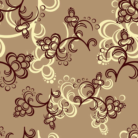 pastiche: Brown and beige flowers on the light-brown background. Vector illustration