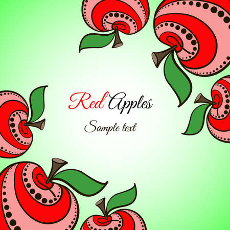 red apples: Decorative frame made from hand-drawn red apples on the green background. Illustration