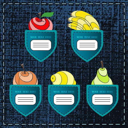 fruity: Original fruity banners like jeans pockets for your design. Vector illustration