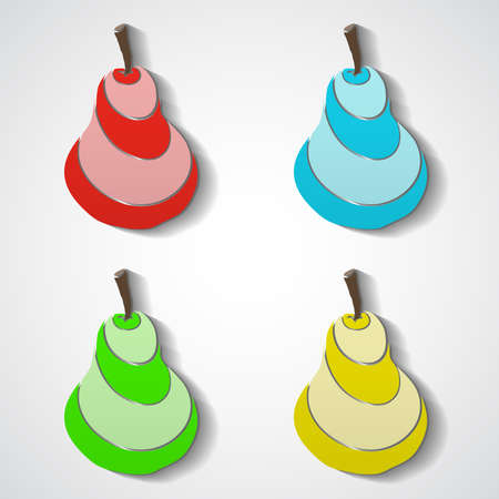 Colored isolated pears for your design. Vector illustration. 10 EPS Vector