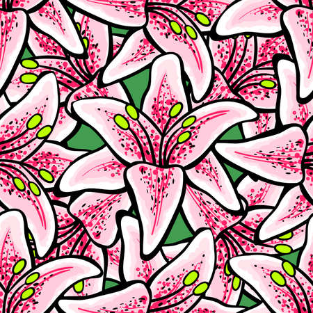 Hand-drawn bright pattern made from big pink lilys. Vector illustration Vector