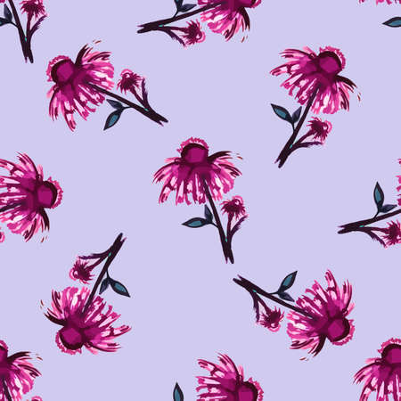 Watercolor pattern made from pink flowers. Vector illustration Vector