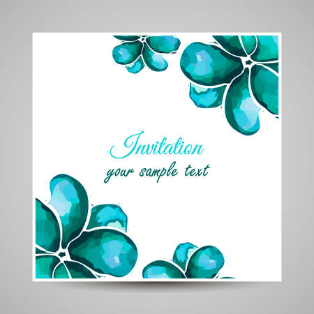 Card made from watercolor blue flowers. Vector illustration Illustration