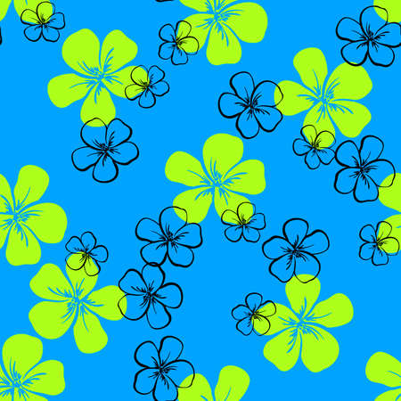 hand colored: Pattern made from colored hand drawn flowers on the blue background. Vector illustration