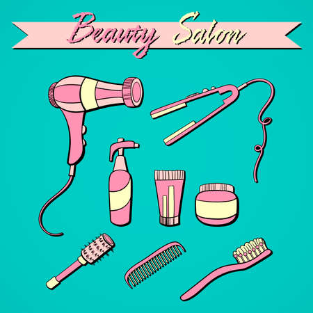 haircutter: Set of hand drawn objects of barber shop. Vector illustration Illustration