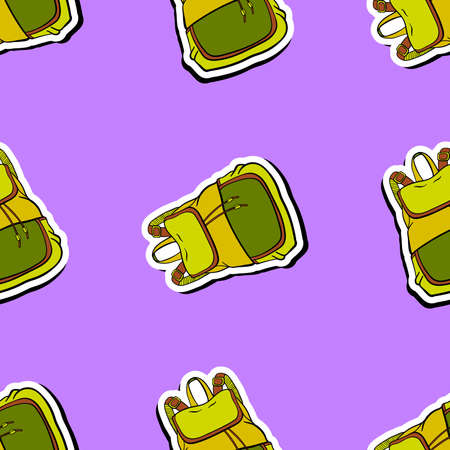 knapsack: Pattern made from hand drawn knapsack on the purple background. Vector illustration