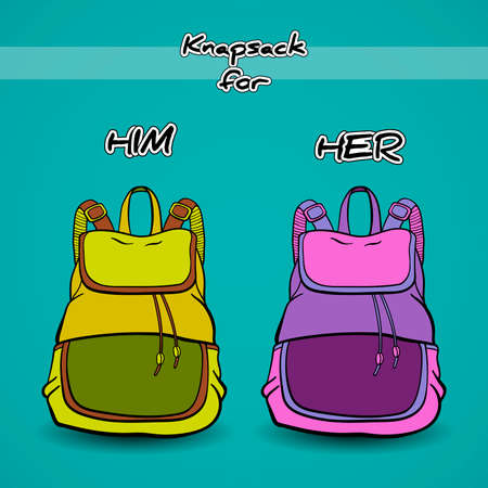 knapsacks: Hand drawn green and purple knapsacks on the blue background.