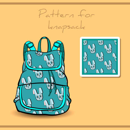 knapsack: Pattern made from blue rabbits for knapsack. Vector illustration
