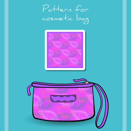 clutch cover: Cosmetic bag with purple pattern made from decorative leafs. Vector illustration Illustration