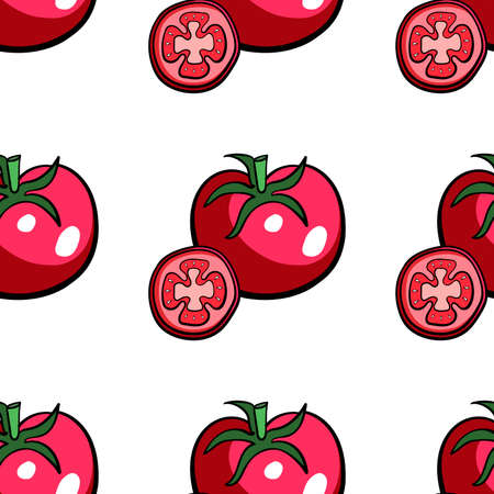 red hand: Pattern made from red hand drawn tomato. Vector illustration Illustration