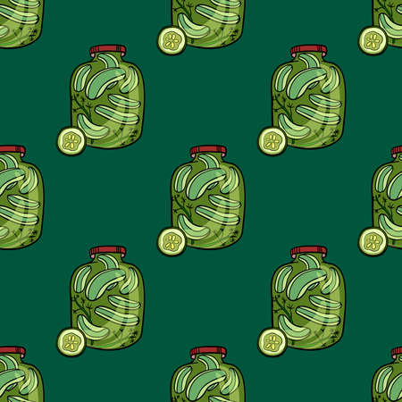 Pattern made from hand drawn pickle cucumbers. Vector illustration