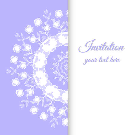 violet background: Card with round ornament made from floral elements. Vector illustration