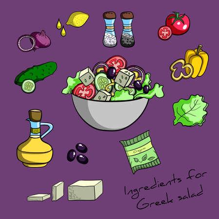 pepino caricatura: Conjunto de ingredientes dibujados a mano para la ensalada griega. Ilustración vectorial