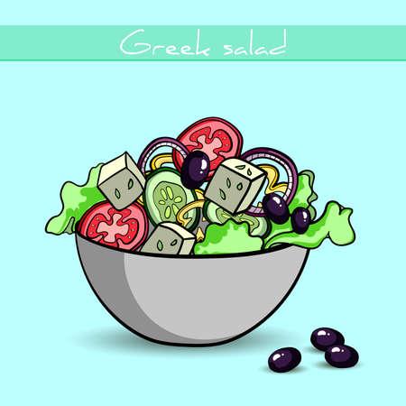 Dibujado a mano ensalada griega y aceitunas. Ilustración de vector