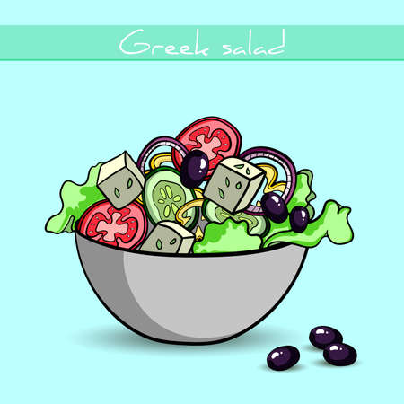 salad: Hand drawn Greek salad and olives.  Illustration