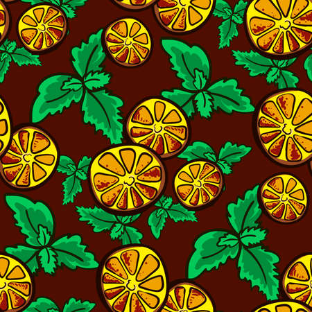 Pattern made from hand drawn slices of lemon and leafs of mint. Vector illustration Çizim