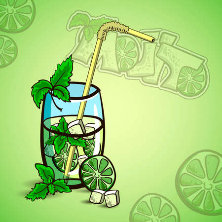 Hand drawn cocktail - mojito with mint and lime. Vector illustration 일러스트