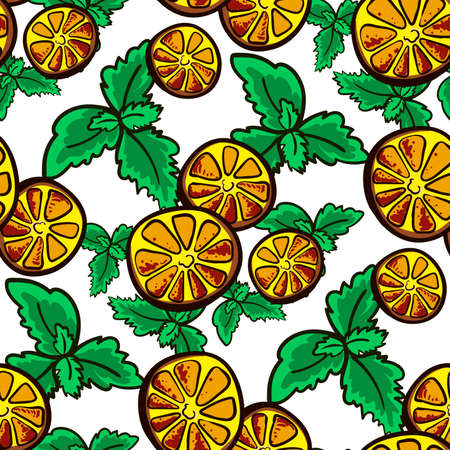 Pattern made from hand drawn slices of lemon and leafs of mint. Vector illustration Vector