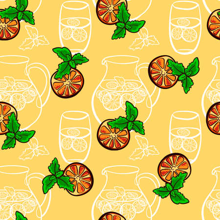 Pattern made from hand drawn  jug and glasses with lemonade and slices of lemon with mint. Vector illustration Vector