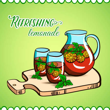 Hand drawn jug and glasses with lemonade on the cutting board. Vector illustration Vector