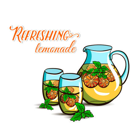 Hand drawn jug and glasses with lemonade on the white background. Vector illustration Vector