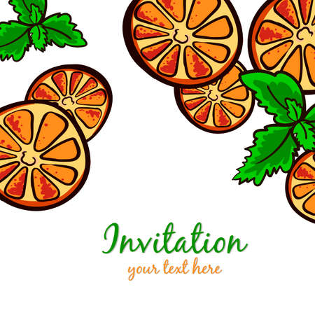 welcom: Postcard made from hand drawn slices of orange and leafs of mint. Vector illustration