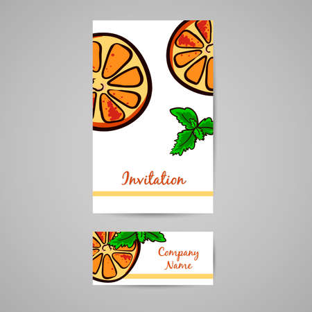 welcom: Postcard and business card made from hand drawn slices of orange and leafs of mint. Vector illustration Illustration