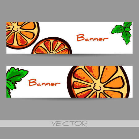 welcom: Banners made from hand drawn slices of orange and leafs of mint. Vector illustration