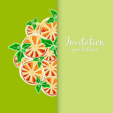 Postcard made from hand drawn slices of orange and leafs of mint. Vector illustration Vector