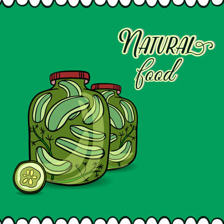 pickled: Hand drawn banks with marinated cucumbers.  Illustration