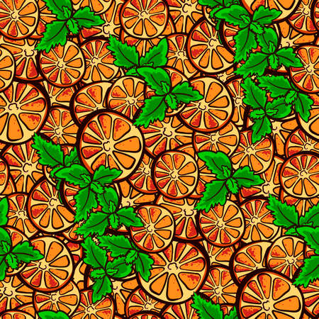Pattern made from hand drawn orange slices and leafs of mint. Vector illustration Vector