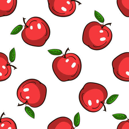 Pattern made from hand drawn red apples. Vector illustration
