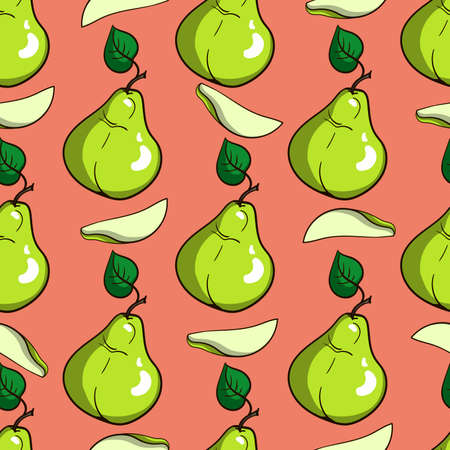 lobule: Pattern made from hand drawn green pears. Vector illustration