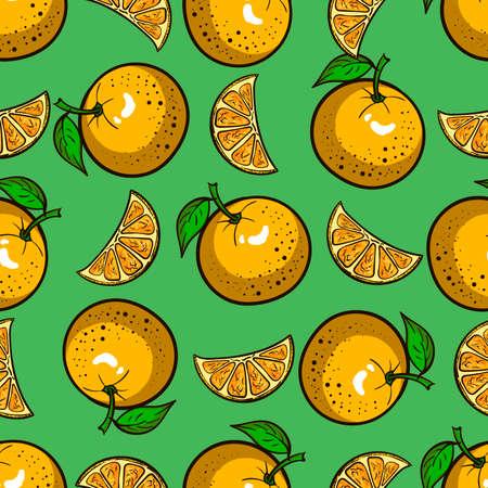 mandarins: Pattern made from hand drawn oranges. Vector illustration