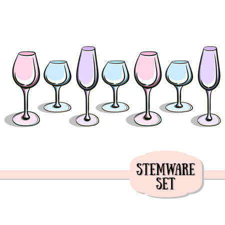 wineglasses: Different wineglasses on the white background. Vector illustration. 10 EPS